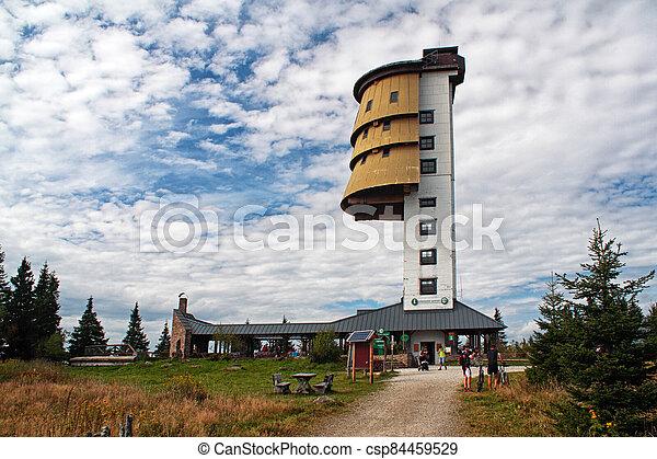 republika, hora, válečný, polednik, čech, hlava, watchtower, lookout, now, věž, dřívější - csp84459529