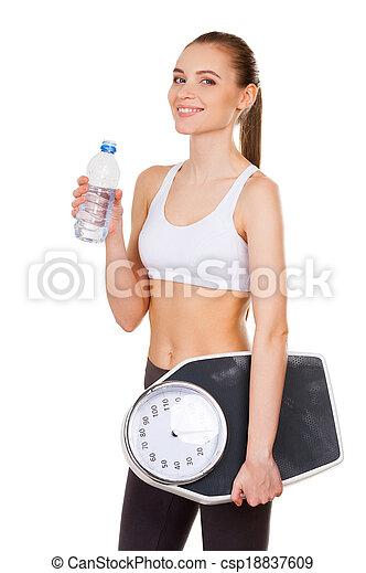 reputacja, żyjący, tabela, butelka, ciężar, zdrowy, młody, odizolowany, woda, znowu, kobieta, pociągający, dzierżawa, life., biały, ma na sobie odzież - csp18837609