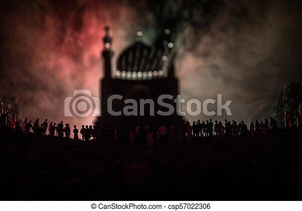 reputacja, gmach, nastrojony, sylwetka, tłum, ludzie, lekki, noc, meczet, ramadan, przeciw, zamazany, wielki, tło., las, belki, mglisty, kareem - csp57022306