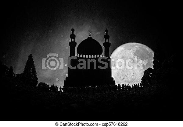 reputacja, gmach, nastrojony, sylwetka, tłum, ludzie, lekki, noc, meczet, ramadan, przeciw, zamazany, wielki, tło., las, belki, mglisty, kareem - csp57618262
