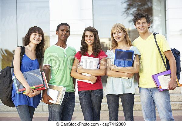 reputacja, gmach, teenage, grupa, studenci, zewnątrz, kolegium - csp7412000
