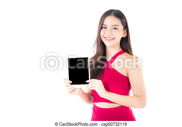 reputacja, kobieta, tabliczka, pokaz, młody, odizolowany, tło., asian, czysty, portret, biały strój, ekran, czerwony - csp50732119