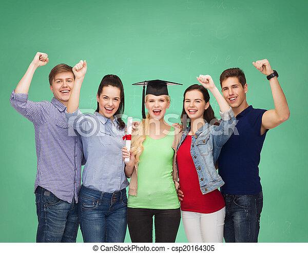 reputacja, studenci, uśmiechanie się, grupa, dyplom - csp20164305