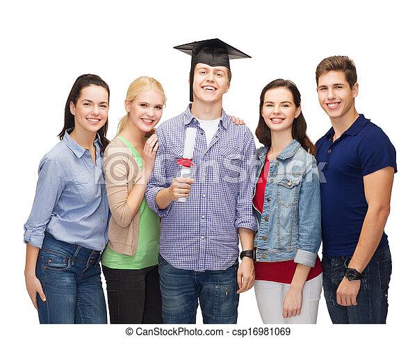 reputacja, studenci, uśmiechanie się, grupa, dyplom - csp16981069