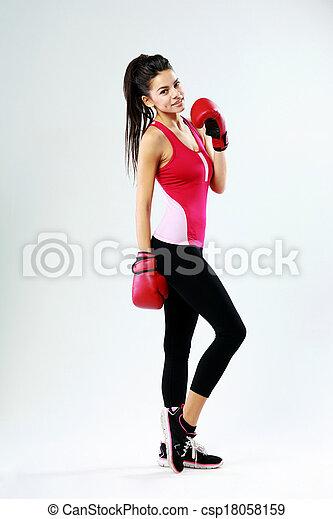 reputacja, szary, kobieta, boks, młody, lekkoatletyka, rękawiczki, tło, uśmiechanie się - csp18058159