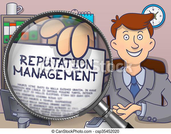 Reputation Management through Magnifier. Doodle Concept. - csp35452020