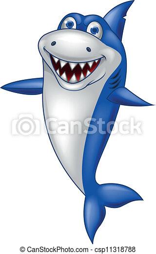 requin, dessin animé, heureux - csp11318788