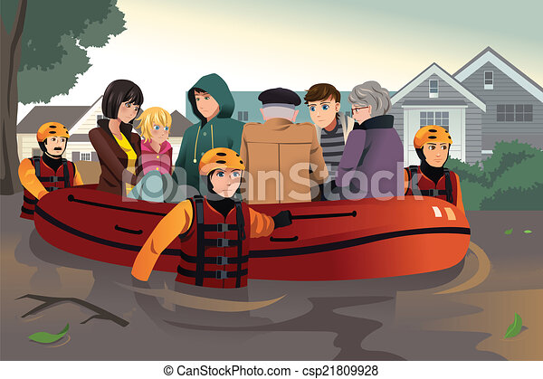 Equipo de rescate ayudando a la gente durante las inundaciones - csp21809928