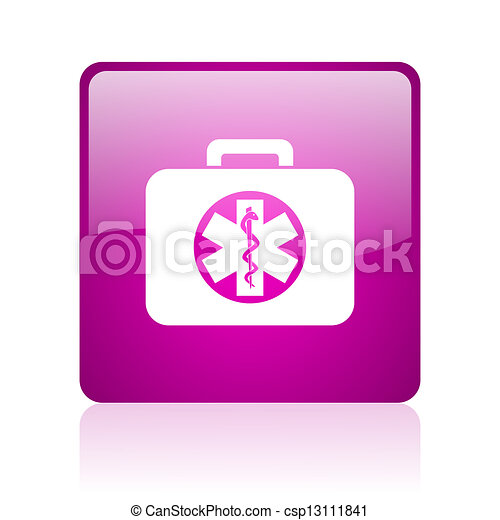 rescue kit violet square web glossy icon - csp13111841