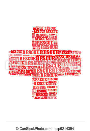 rescue text on cross symbol  graphic and arrangement concept - csp9214394