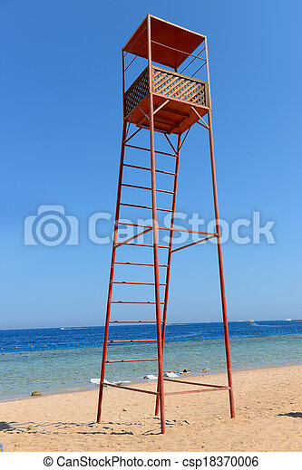 Rescue tower on the beach near the sea - csp18370006