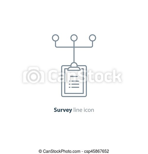 Gather Information Resources And Referece Tree Collect Data Questionnaire Clip Board Line Icon Quiz Concept Logo Summary Note Pad Opinion Poll Vector
