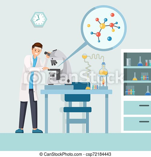 researcher with microscope vector illustration cartoon male scientist studying test results molecule structure in https www canstockphoto com researcher with microscope vector 72184443 html