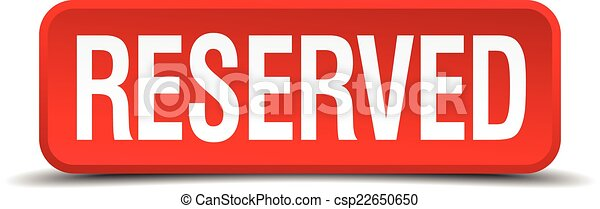 Reserved red 3d square button isolated on white - csp22650650