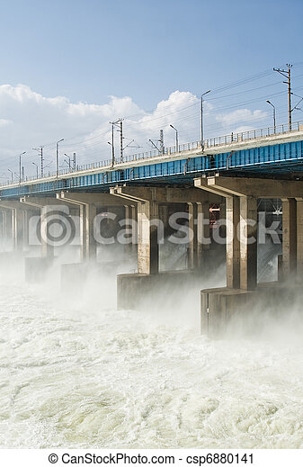 Reset of water at hydroelectric power station on the river - csp6880141