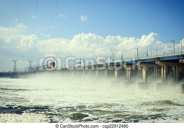 Reset of water at hydroelectric power station on the river - csp22912480