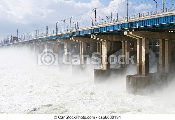 Reset of water at hydroelectric power station on the river - csp6880134