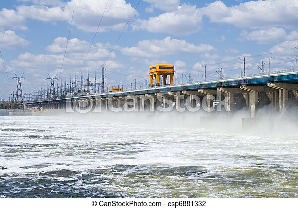 Reset of water at hydroelectric power station on the river - csp6881332
