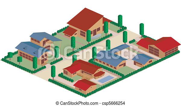Dibujos de distrito residenciales - csp5666254
