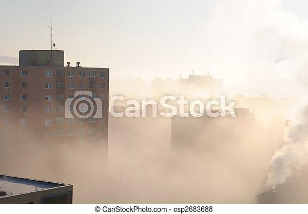 residencial, niebla tóxica, niebla, área - csp2683688