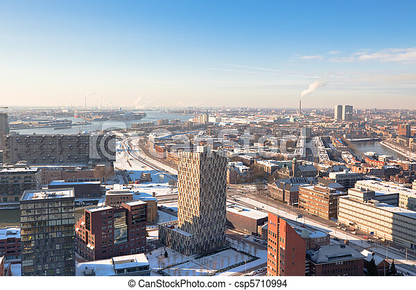 residential and industrial districts view - csp5710994