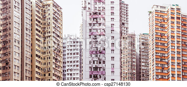 Residential aprtment in old district, Hong Kong, Asia - csp27148130