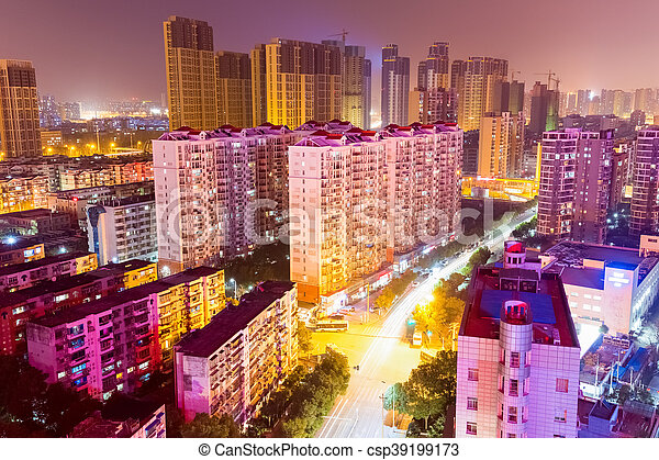 residential area at night in wuhan - csp39199173