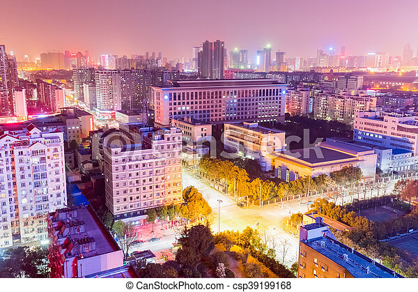 residential area at night in wuhan - csp39199168