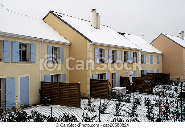 residential area in winter - csp20580824