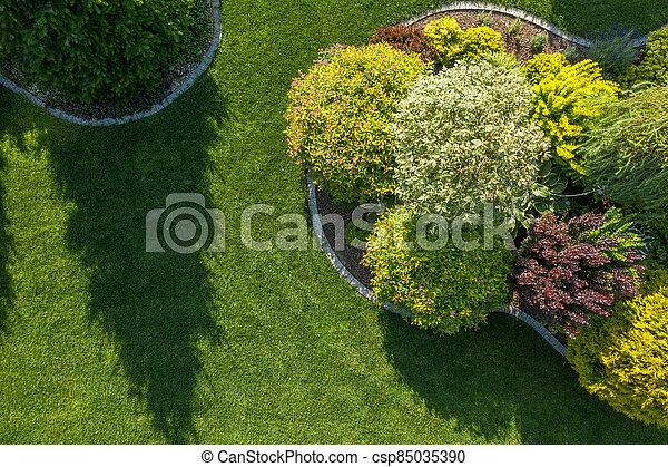 Residential Backyard Garden Aerial Vista - csp85035390