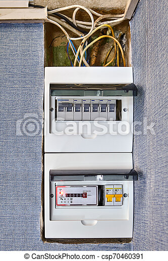 [DIAGRAM_5FD]  Residential circuit breaker box of home electricity. Electrical safety in  houses, modern electrical switchboard, fusebox, new | Breaker Fuse Box Graphic |  | Can Stock Photo