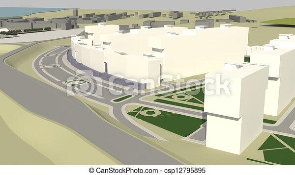 Residential complex (3d rendering) - csp12795895