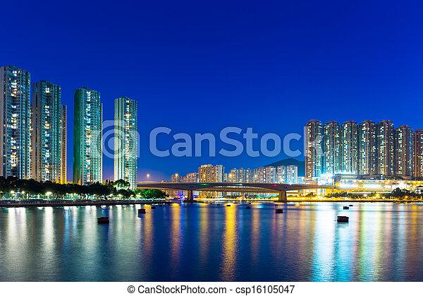 Residential district in Hong Kong at night - csp16105047
