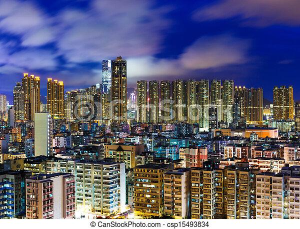 Residential district in Hong Kong at night - csp15493834