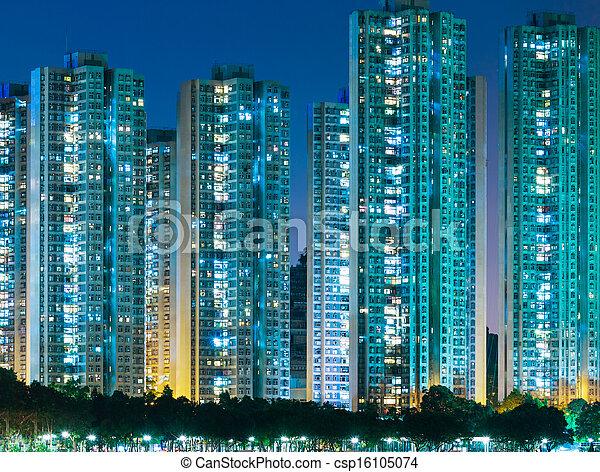 Residential district in Hong Kong - csp16105074