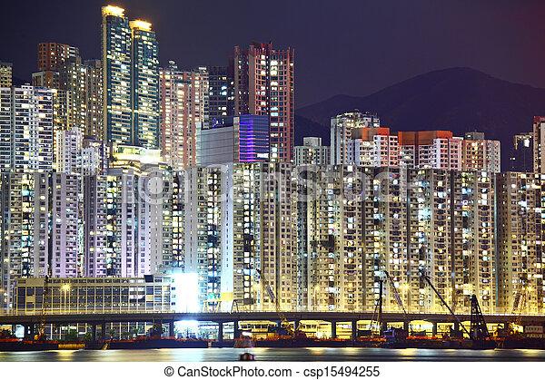 Residential district in Hong Kong - csp15494255