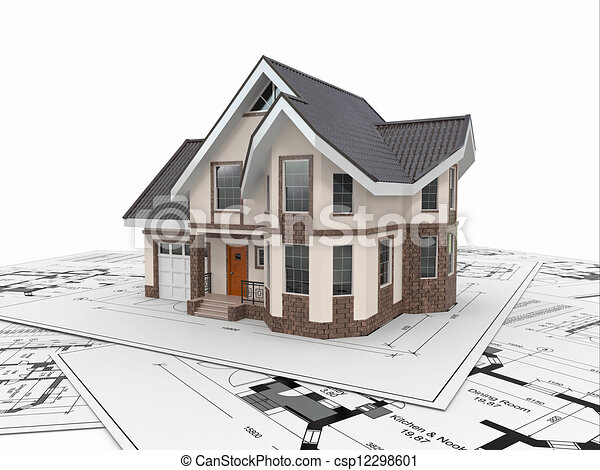 Residential house on architect blueprints. Housing project. - csp12298601
