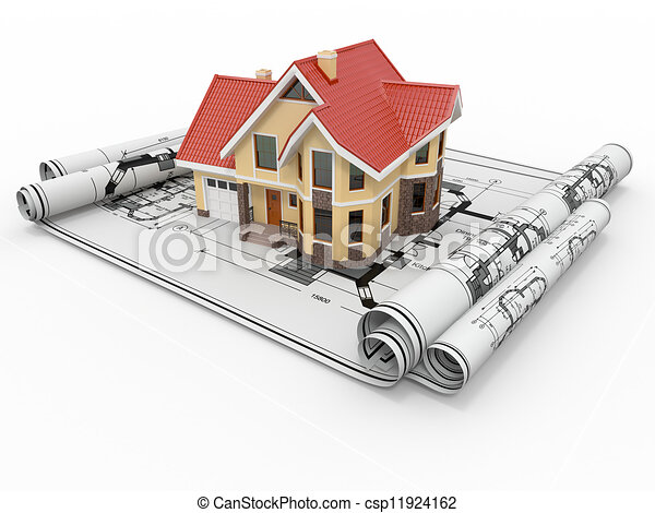 Residential house on architect blueprints. Housing project. - csp11924162