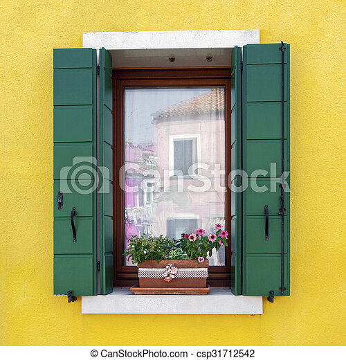 Residential house window in Burano - csp31712542