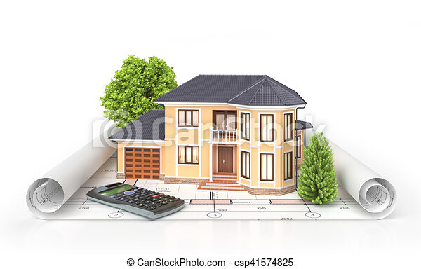 Clip Art of Residential house with tools on architect blueprints