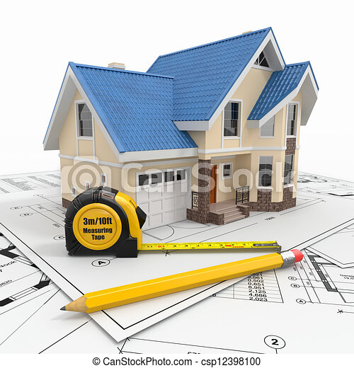Residential house with tools on architect blueprints. - csp12398100