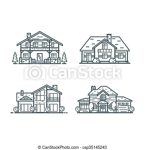 Residential houses thin line icons - csp35145243