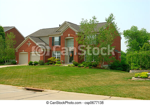 Residential two story brick home - csp0677138