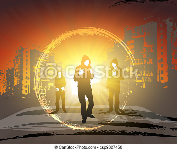 Residents of the street. Cityscape at sunset. - csp9827450