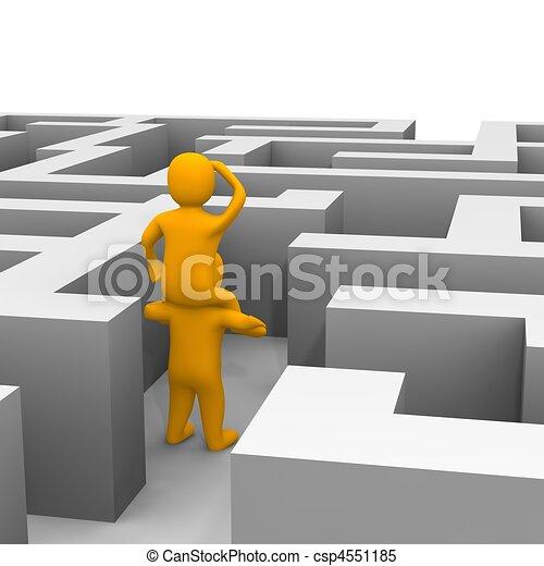 reso, illustration., labyrinth., attraverso, risultato, percorso, 3d - csp4551185