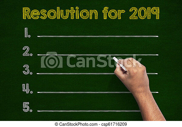Resolutions in 2019 writings on chalkboard - csp61716209