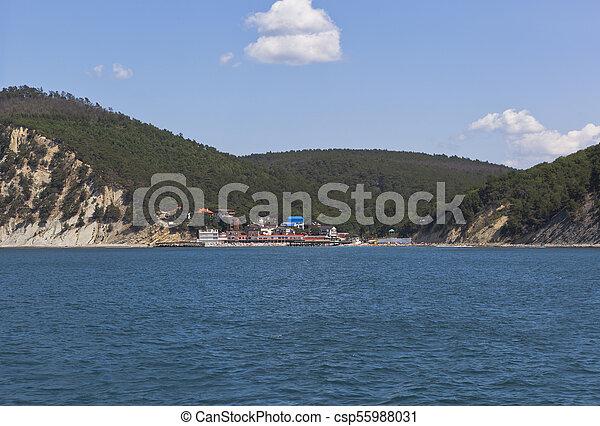 Resort settlement Dzhanhot on the Black Sea coast in district of Gelendzhik, Krasnodar region, - csp55988031