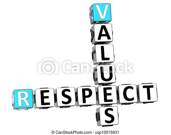 respect, 3d, valeurs, mots croisés - csp10015931