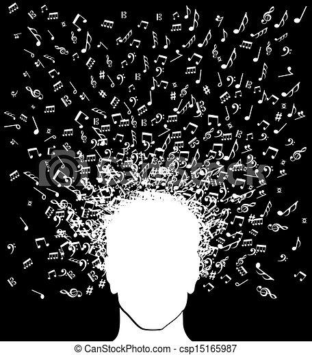 respingo, cabeça, música, homem, notas - csp15165987