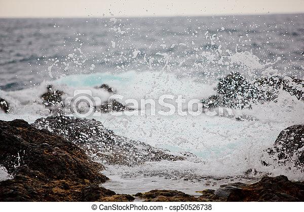 respingo, ondas oceano, pedras - csp50526738